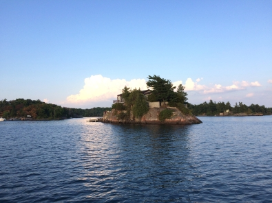 An island in the St. Lawrence River, just big enough for a large house and a few trees
