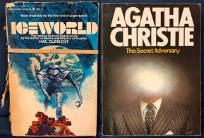 "Two book covers. ""Iceworld"" by Hal Clement and ""The Secret Adversary"" by Agatha Christie"