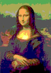 A version of the famous Mona Lisa image rendered with just a dozen or so different colors
