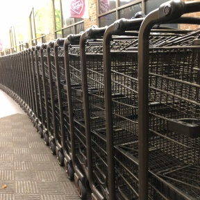 A row of wire shopping carts