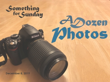 A Nikon camera with a telephoto lense on a wooden table. Text: Something for Sunday; December 8, 2019; A Dozen Photos
