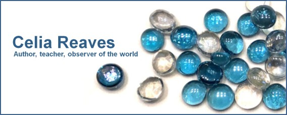 Blue marbles on white background. Text: Celia Reaves: Author, teacher, observer of the world